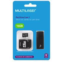 Pendrive Multilaser 3X1+Adapt SD+Cartão de Mem class 10 16GB MC112 -