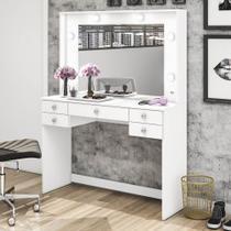 Penteadeira 433 com 5 Gavetas e Espelho - Branco - Móvel bento