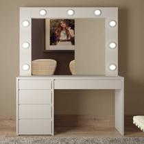 Penteadeira Camarim com Espelho 5 gavetas Berlim Mavaular Branco Off White -