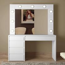 Penteadeira Camarim com Espelho 5 gavetas Berlim Mavaular Branco -