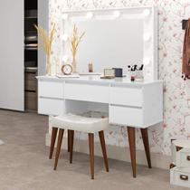 Penteadeira Camarim com Espelho 5 Gavetas Strass Patrimar Móveis Branco -