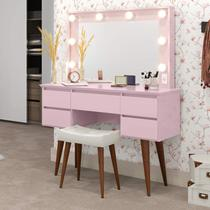 Penteadeira Camarim com Espelho 5 Gavetas Strass Patrimar Móveis Rosa -