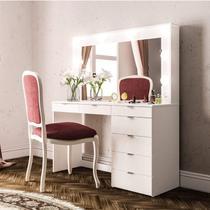 Penteadeira Camarim com Espelho 7 Gavetas Diamante Espresso Móveis Branco -