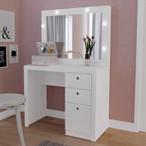 Penteadeira Camarim Compacta com Espelho 3 Gavetas PE2010 Tecno Mobili Branco -