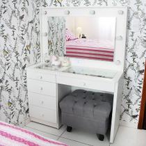 Penteadeira Camarim Mdf Completa 5 Gavetas, espelho, vidro, parte elétrica pronta - Dom Móveis -