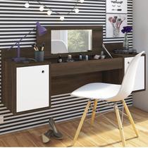 Penteadeira Camarim Suspenso com Espelho Atração Albatroz Móveis Cedro/Branco -