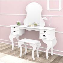 Penteadeira com Espelho 4 Gavetas e Banqueta Charlotte Imcal Branco -