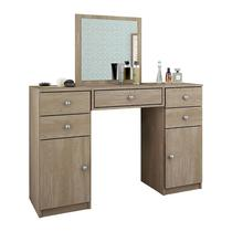 Penteadeira com Espelho 5 Gavetas e 2 Portas Lorena Nogal - Demóbile -