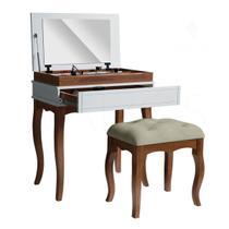 Penteadeira Escrivaninha Retro Branca com Espelho E Gaveta + Banco - Libriane - Valios