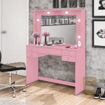 Penteadeira Movelbento MSM 433 Com Espelho 5 Gavetas Rosa -