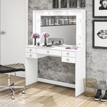 Penteadeira Movelbento Tradicional MSM433 Espelho 5 Gavetas Branca -