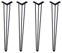 Pés para Mesas e Aparadores Cor Preta - 04 Un Hairpin Legs de Ferro 75cm Altura - Madeira Usada