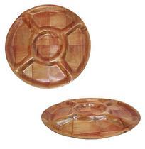 Petisqueira de Madeira Redonda com 5 Divisorias 20,5cm de Diametro - Yins