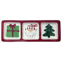 Petisqueira natal 3 partes ceramica toulouse 34,3x12,4x2,3cm - niazitex -