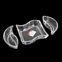 Petisqueira vidro versai s/ divisões com 3 peças - freecom -
