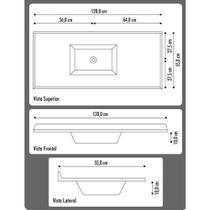Pia de cozinha Mármore Sintético Standart 120cm Aj Rorato -