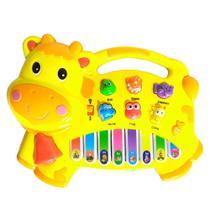 Pianinho de Vaca Bebê com Controle de Volume Músicas Luz - Amarela - Toy King