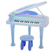 Piano Sinfonia Infantil 32 Teclas Estilo Musical Com Gravador Banquinho E Microfone Azul Menino - Makeda