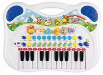 Piano Teclado Musical Infantil Azul Menino Gravador Sons - Braskit