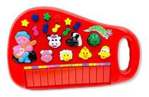 Piano Teclado Musical Infantil Bebe Sons Animais Eletronico VERMELHO - Toys