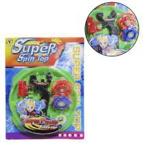 Piao / blade com lancador super spin top colors 6 pecas na cartela - Om Utilidades