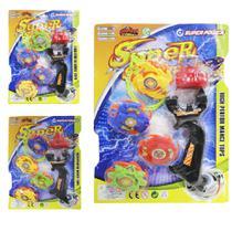 Piao / blade com lancador super spin top colors 7 pecas na cartela - Om Utilidades