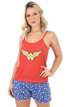 Pijama 4 Estações Curto Mulher Maravilha Regata Feminino Casual Moda Azul -