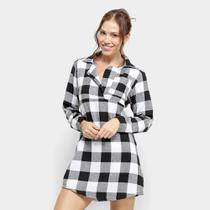 Pijama Camisão Flora Zuu Xadrez Máscara Brinde -