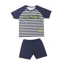 Pijama Infantil - Camisa Manga Curta - Explore - 100% Algodão - Listrado e Marinho - Minimi - Evanilda