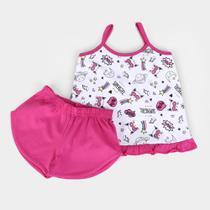 Pijama Infantil Candy Kids Meia Malha Regata Gatinho Feminino -
