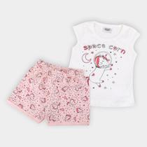 Pijama Infantil Duzizo Unicórnio Brilha no Escuro Feminino -