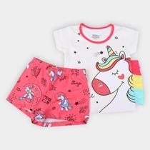 Pijama Infantil Elian Curto Unicórnio Brilha No Escuro Feminino -