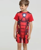 Pijama Infantil Fantasia Homem De Ferro Manga Curta Marvel -