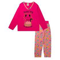Pijama Infantil Feminino Estampado Decote V Pink Fantoni -