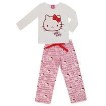 0cd2bf9dd Pijama Infantil feminino Meia Malha Hello Kitty Sanrio