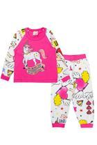 Pijama Infantil Feminino Raglan Meia Malha Pink Fantoni -