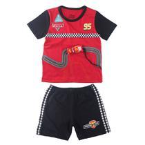 Pijama Infantil Interativo - Camisa Manga Curta e Bermuda - Carros - 100% Algodão - Vermelho  - Minimi -