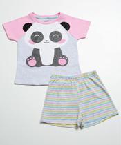 Pijama Infantil Listrado Panda Manga Curta Marisa -