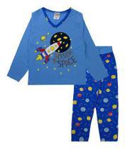 Pijama Infantil Masculino Estampado Decote V Azul Fantoni -