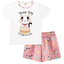 Pijama Infantil Menina Gatinha Brilha No Escuro Conjunto - Fantoni