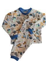 Pijama inverno infantil menino moletinho flanelado estampado manga longa 0 a 4 anos frio - Gérbya