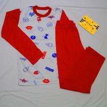 Pijama juvenil,  Modelo longo,  Marca Regina,  Cor vermelha,   Tamanho 12 anos,  Malha PV. -