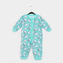 Pijama Macacão Bebê Kyly Estampado Moletom Feminino -