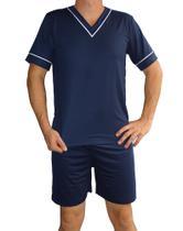 Pijama masculino adulto shorts verao liso - azul marinho - 3331 - tam. gg - Marlu Confecções