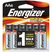Pilha Alcalina AA 1,5V Max Energizer - Cartela com 6 Pilhas -