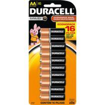 Pilha Alcalina AA Duracell cartela com 16 pilhas -