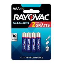 Pilha alcalina palito AAA  c/ 4 unidades - Rayovac -