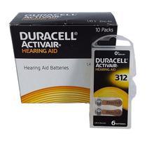 Pilha auditiva duracell 312 - 10 cartelas (60 baterias) -
