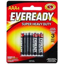 Pilha Comum AAA 1,5V Super Heavy Duty Eveready - Cartela com 4 Pilhas -