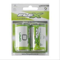 Pilha FLEX D Alcalina 2 Unidades -